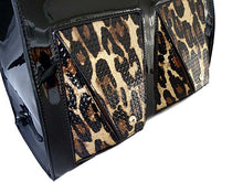 BLACK PATENT LEOPARD PRINT DESIGN MULTI-COMPARTMENT HOLDALL HANDBAG WITH LONG STRAP