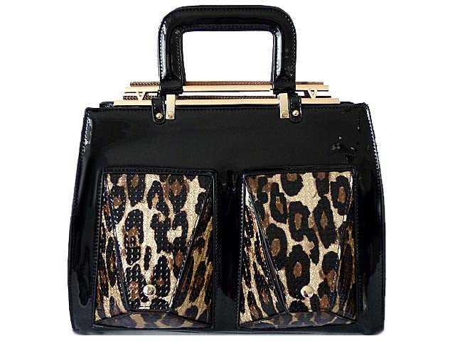 A-SHU BLACK PATENT LEOPARD PRINT DESIGN MULTI-COMPARTMENT HOLDALL HANDBAG WITH LONG STRAP - A-SHU.CO.UK