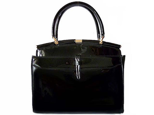 BLACK PATENT MULTI-COMPARTMENT HOLDALL HANDBAG WITH LONG STRAP