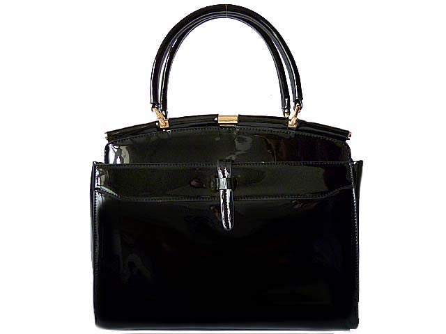 A-SHU BLACK PATENT MULTI-COMPARTMENT HOLDALL HANDBAG WITH LONG STRAP - A-SHU.CO.UK