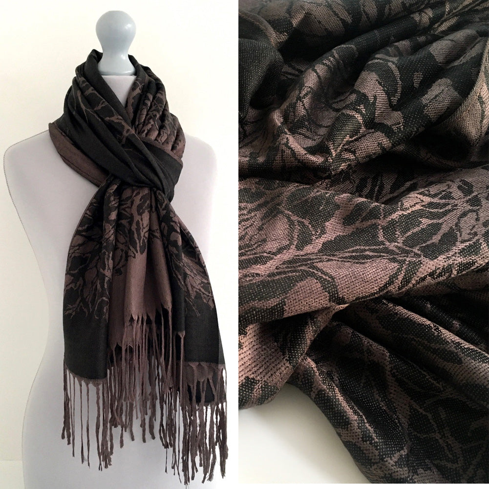 A-SHU BLACK REVERSIBLE PASHMINA SHAWL SCARF IN ABSTRACT PRINT - A-SHU.CO.UK