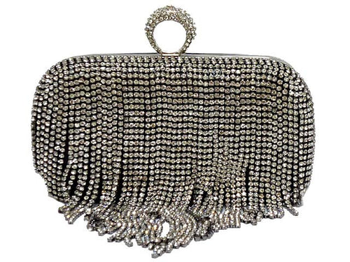 BLACK RING DIAMANTE HARDBACK CLUTCH BAG WITH LONG CHAIN STRAP