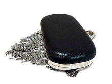 A-SHU BLACK RING DIAMANTE HARDBACK CLUTCH BAG WITH LONG CHAIN STRAP - A-SHU.CO.UK