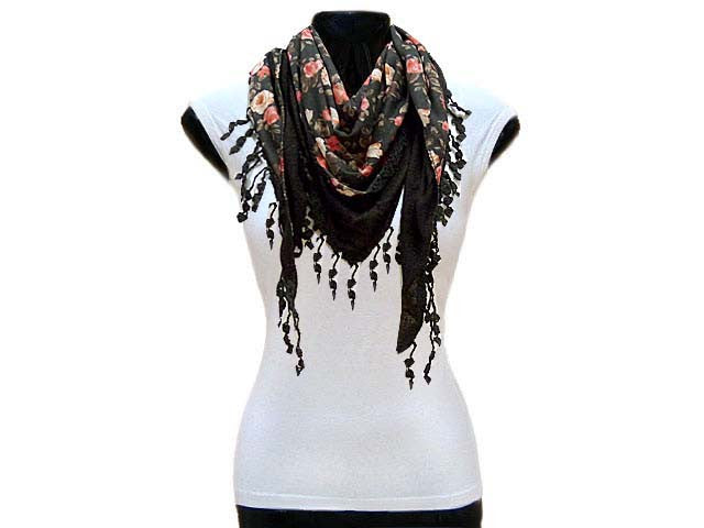A-SHU BLACK ROSE PRINT TRIANGULAR NECK SCARF WITH TASSELS - A-SHU.CO.UK