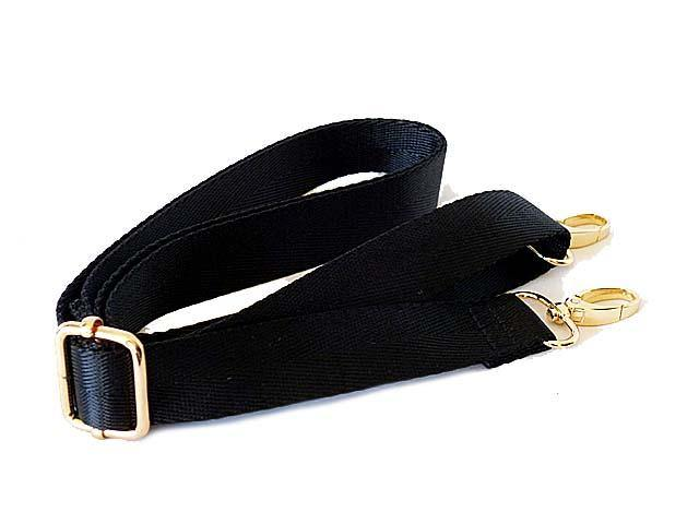 A-SHU BLACK SATIN ADJUSTABLE LENGTH LONG HANDBAG SHOULDER STRAP - A-SHU.CO.UK