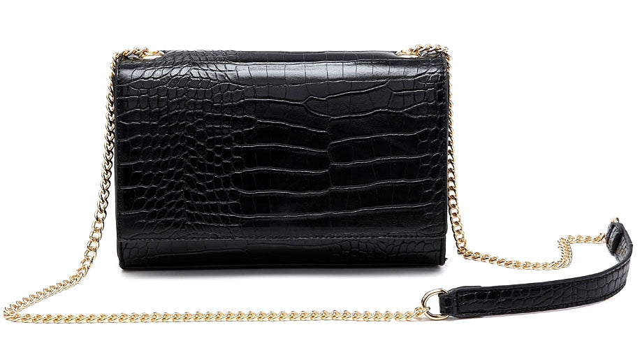 A-SHU BLACK SNAKESKIN CROSS BODY SHOULDER BAG WITH LONG GOLD CHAIN STRAP - A-SHU.CO.UK