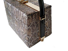 A-SHU BLACK SNAKESKIN HARDBACK BOX SHOULDER HANDBAG - A-SHU.CO.UK