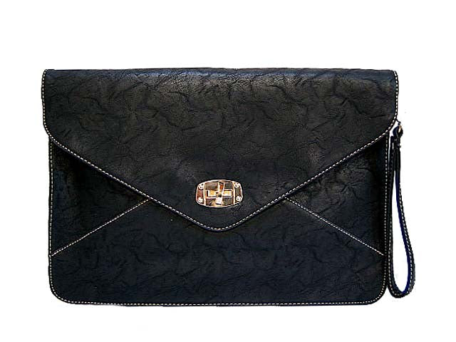 A-SHU BLACK XXL TEXTURED OVER-SIZED ENVELOPE CLUTCH BAG WITH WRIST AND LONG SHOULDER STRAPS - A-SHU.CO.UK