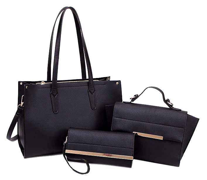 A-SHU BLACK TOTE HANDBAG SET WITH SMALL HOLDALL CROSS BODY BAG AND CLUTCH BAG / PURSE WALLET - A-SHU.CO.UK