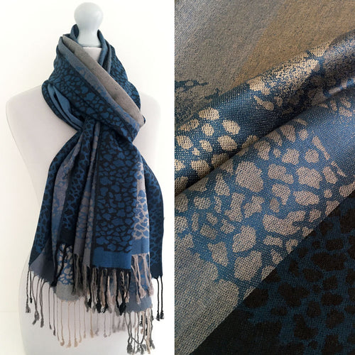 A-SHU BLUE LEOPARD PRINT REVERSIBLE PASHMINA SHAWL SCARF WITH STRIPE - A-SHU.CO.UK