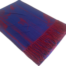 A-SHU BLUE BERRY REVERSIBLE PASHMINA SHAWL SCARF IN ABSTRACT FLORAL PRINT - A-SHU.CO.UK