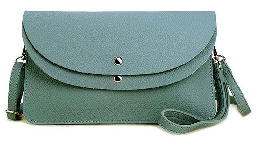 A-SHU BLUE ENVELOPE MULTI-POCKET CLUTCH BAG WITH WRISTLET AND LONG SHOULDER STRAP - A-SHU.CO.UK