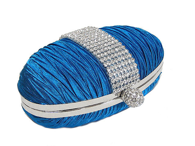 A-SHU BLUE HARD-BACK OVAL CLUTCH BAG WITH DIAMANTE DESIGN - A-SHU.CO.UK