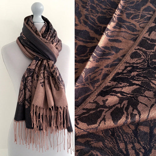 A-SHU BLUE ROSE REVERSIBLE PASHMINA SHAWL SCARF IN ABSTRACT PRINT - A-SHU.CO.UK