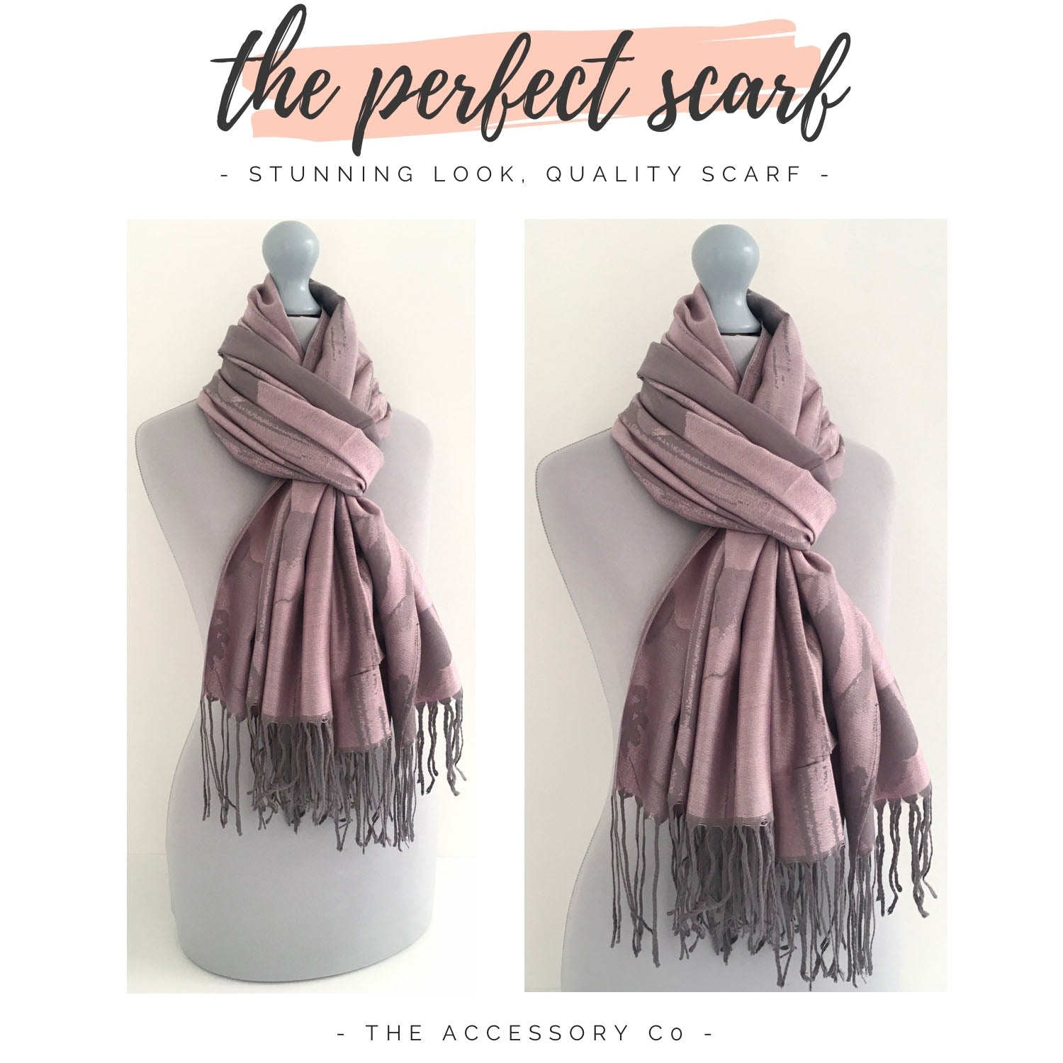 BLUSH PINK GREY REVERSIBLE PASHMINA SHAWL SCARF IN ABSTRACT FLORAL PRINT