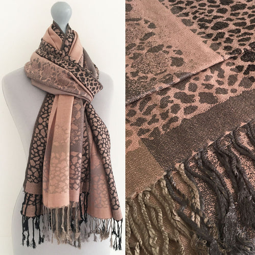 A-SHU BLUSH PINK LEOPARD PRINT REVERSIBLE PASHMINA SHAWL SCARF WITH STRIPE - A-SHU.CO.UK