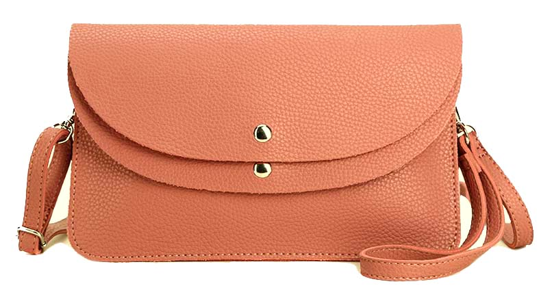 A-SHU BLUSH PINK ENVELOPE MULTI-POCKET CLUTCH BAG WITH WRISTLET AND LONG SHOULDER STRAP - A-SHU.CO.UK