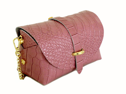 BLUSH PINK GENUINE LEATHER CROC PRINT CROSS BODY BAG WITH CHAIN STRAP