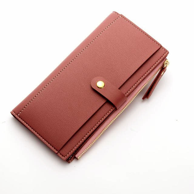 A-SHU MAUVE BLUSH PINK FAUX LEATHER SLIM MULTI-COMPARTMENT PURSE WALLET WITH MOBILE PHONE SLOT - A-SHU.CO.UK
