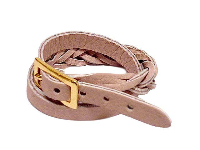 A-SHU BLUSH PINK GENUINE LEATHER WRAP AROUND WOVEN WRIST STRAP BRACELET - A-SHU.CO.UK