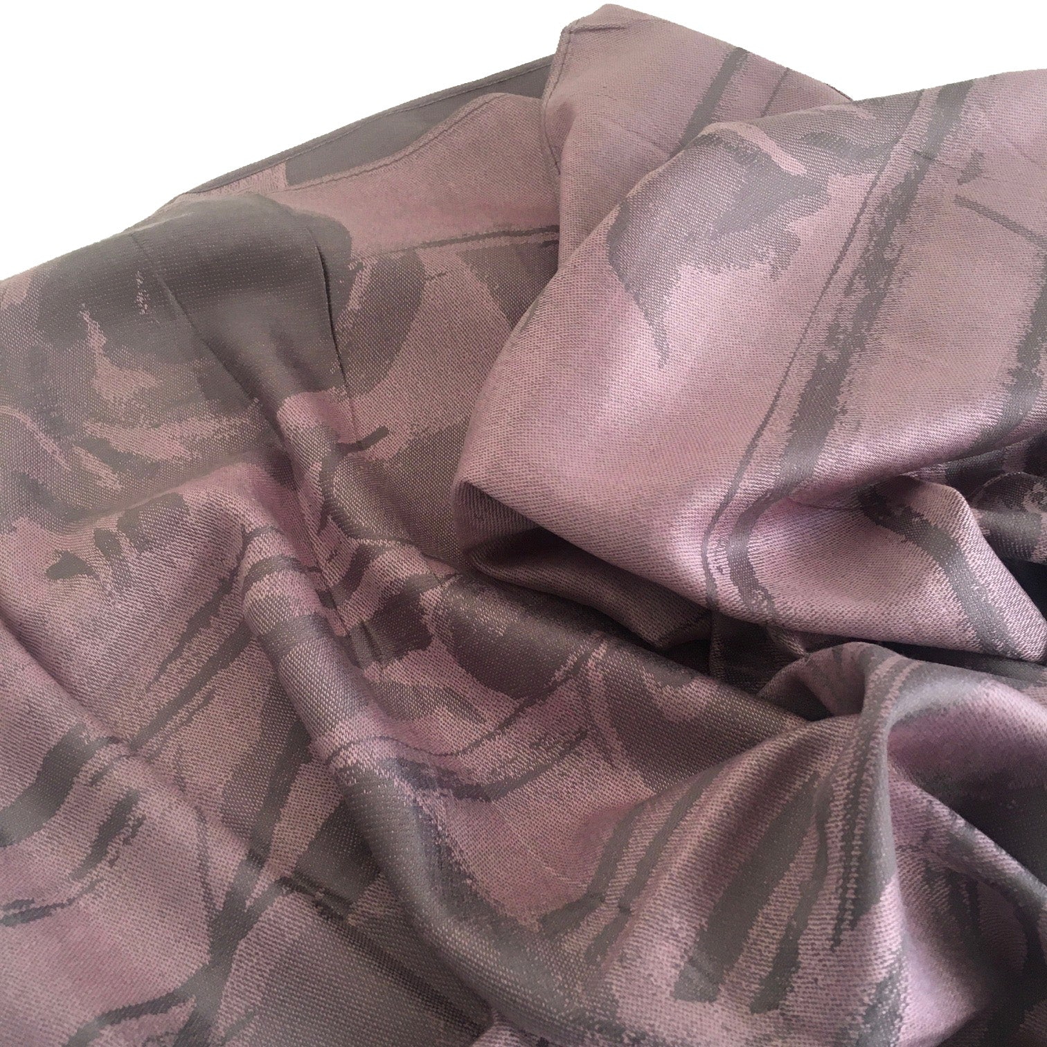 A-SHU BLUSH PINK GREY REVERSIBLE PASHMINA SHAWL SCARF IN ABSTRACT FLORAL PRINT - A-SHU.CO.UK