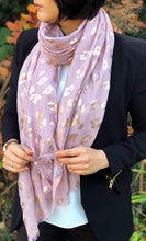 A-SHU BLUSH PINK METALLIC ROSE GOLD LEOPARD PRINT SCARF - A-SHU.CO.UK
