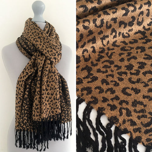 A-SHU BROWN SMALL LEOPARD PRINT REVERSIBLE PASHMINA SHAWL SCARF - A-SHU.CO.UK