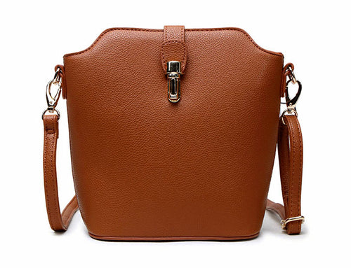 TAN CROSS BODY BAG WITH LONG OVER SHOULDER STRAP