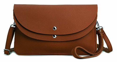 A-SHU BROWN ENVELOPE MULTI-POCKET CLUTCH BAG WITH WRISTLET AND LONG SHOULDER STRAP - A-SHU.CO.UK