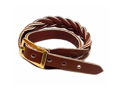 BROWN GENUINE LEATHER WRAP AROUND WOVEN WRIST STRAP BRACELET