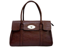 ORDER BY REQUEST - BROWN LEATHER EFFECT CLASSIC HANDBAG WITH TWIST-LOCK CLOSURE