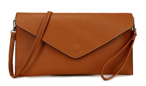 A-SHU BROWN OVER-SIZED ENVELOPE CLUTCH BAG WITH LONG CROSS BODY AND WRISTLET STRAPS - A-SHU.CO.UK