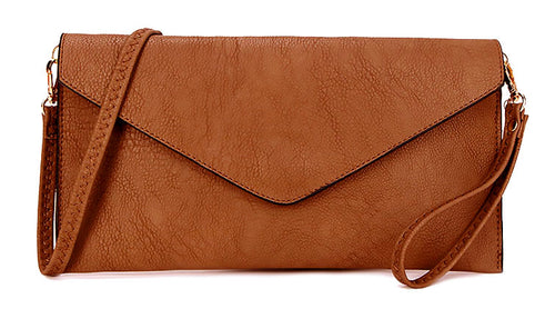 BROWN OVER-SIZED ENVELOPE CLUTCH BAG WITH LONG CROSS BODY AND WRISTLET STRAP