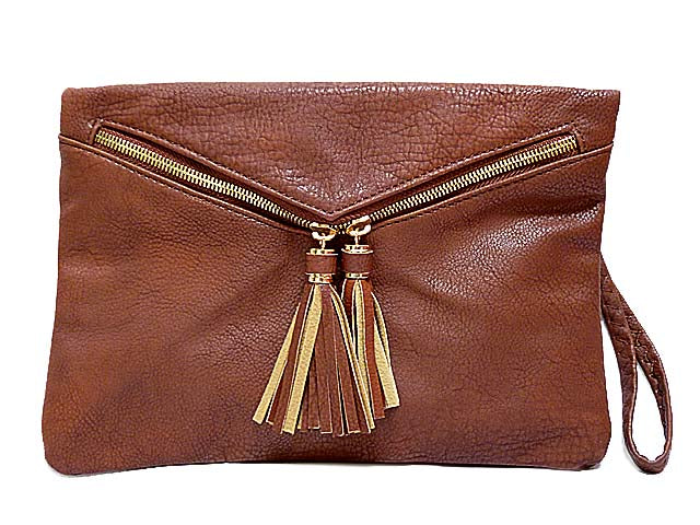 A-SHU BROWN TASSEL DESIGN ENVELOPE CLUTCH BAG WITH LONG CROSS BODY SHOULDER STRAP AND WRISTLET - A-SHU.CO.UK