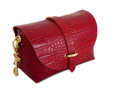 BURGUNDY GENUINE LEATHER CROC PRINT CROSS BODY BAG WITH CHAIN STRAP