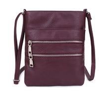BURGUNDY SLIM MULTI POCKET CROSS BODY BAG WITH LONG SHOULDER STRAP