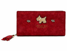 A-SHU BURGUNDY MULTI-COMPARTMENT DOG PURSE WALLET WITH TASSEL - A-SHU.CO.UK