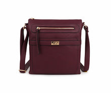 A-SHU BURGUNDY MULTI COMPARTMENT CROSS BODY SHOULDER BAG - A-SHU.CO.UK
