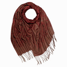 A-SHU BURGUNDY REVERSIBLE PASHMINA SHAWL SCARF IN ABSTRACT PRINT - A-SHU.CO.UK