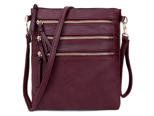 A-SHU BURGUNDY SLIM MULTI POCKET CROSS BODY BAG WITH LONG STRAP - A-SHU.CO.UK