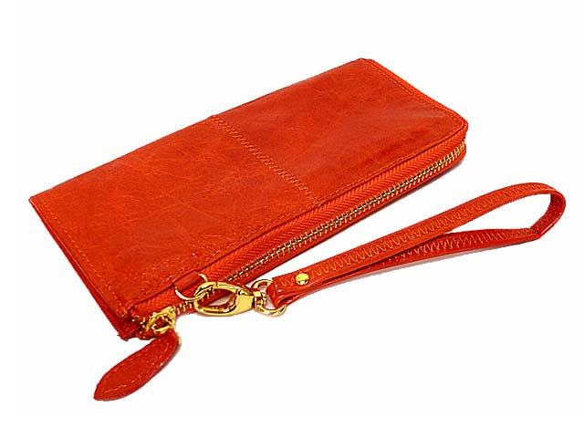 A-SHU ORDER BY REQUEST - BURNT ORANGE GENUINE LEATHER SLIM PURSE WITH WRIST STRAP - A-SHU.CO.UK