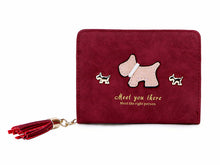 SMALL BURGUNDY BI-FOLD DOG WALLET COIN PURSE WITH TASSEL