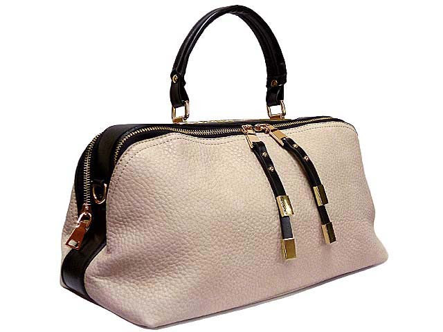 A-SHU DARK BEIGE LEATHER EFFECT MULTI-COMPARTMENT HANDBAG WITH LONG SHOULDER STRAP - A-SHU.CO.UK