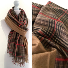 A-SHU CAMEL LONG OVERSIZED BLOCK PRINT TARTAN CHECKED SHAWL SCARF - A-SHU.CO.UK
