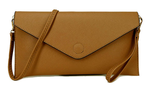 A-SHU CAMEL OVER-SIZED ENVELOPE CLUTCH BAG WITH LONG CROSS BODY AND WRISTLET STRAPS - A-SHU.CO.UK