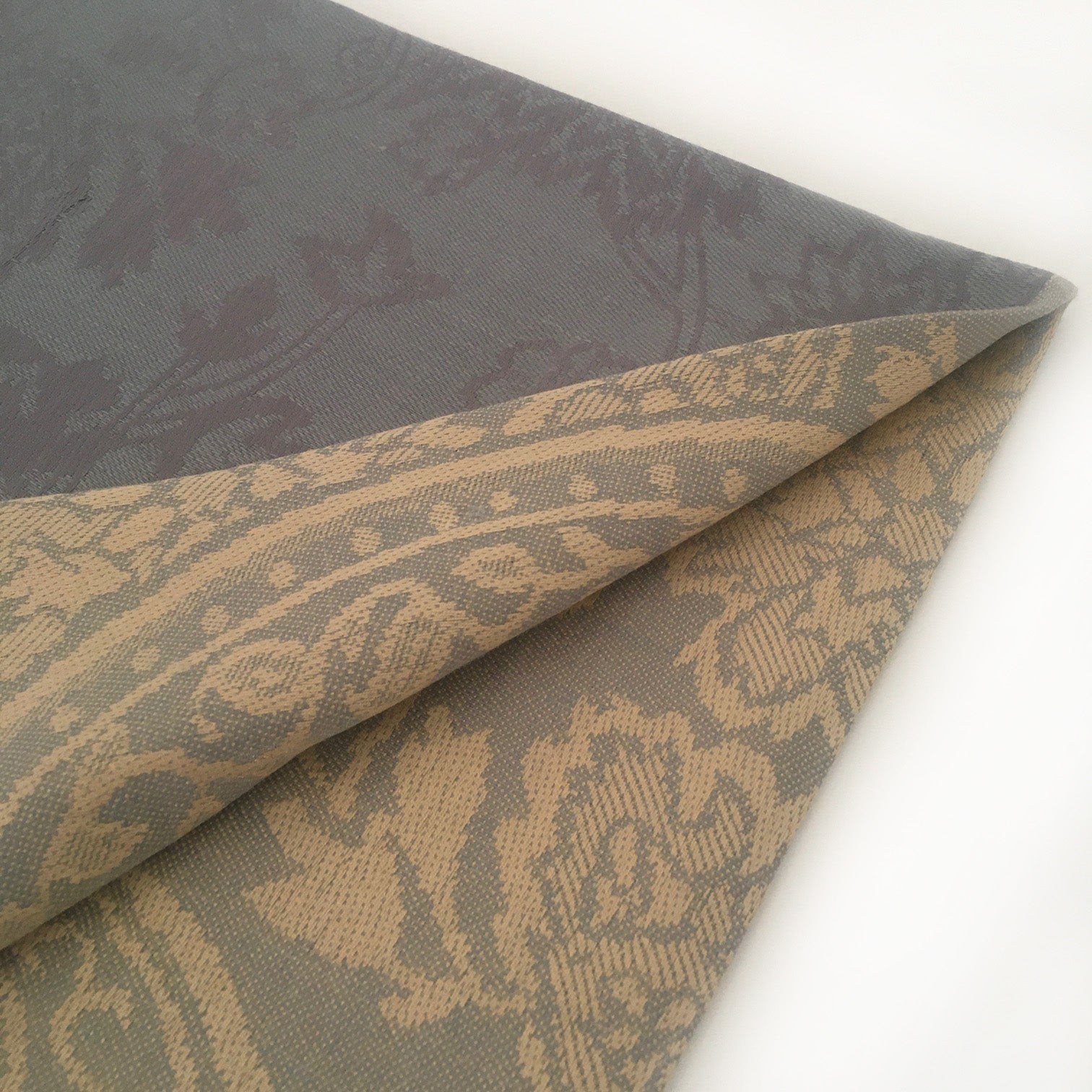 A-SHU CHARCOAL GREY PAISLEY FLORAL PRINT REVERSIBLE PASHMINA SHAWL SCARF - A-SHU.CO.UK