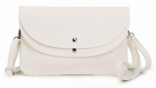 A-SHU CREAM WHITE ENVELOPE MULTI-POCKET CLUTCH BAG WITH WRISTLET AND LONG SHOULDER STRAP - A-SHU.CO.UK
