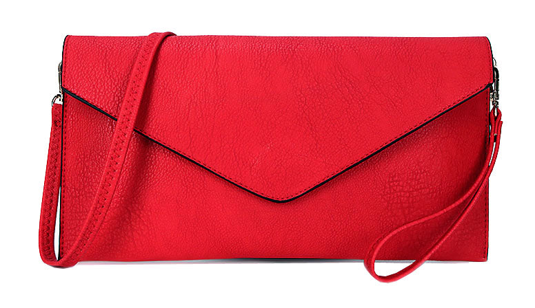 A-SHU LARGE CRIMSON RED OVERSIZED ENVELOPE CLUTCH BAG WITH WRISTLET AND LONG CROSSBODY SHOULDER STRAP - A-SHU.CO.UK