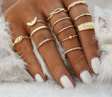 A-SHU DAINTY GOLD BOHEMIAN INSPIRED 12 PCS RING SET - A-SHU.CO.UK