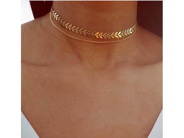 A-SHU DAINTY LAYERED GOLD CHOKER NECKLACE - A-SHU.CO.UK